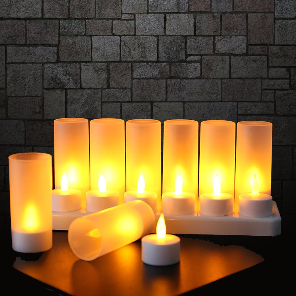 Flameless Candles with Rechargeable Base Led Candles Flickering LED Tea Lights Unscented Tealight Warm White Plastic Realistic Candle Party Decoration Upgraded Tea Candle Set of 12 Halloween by EXPOWER