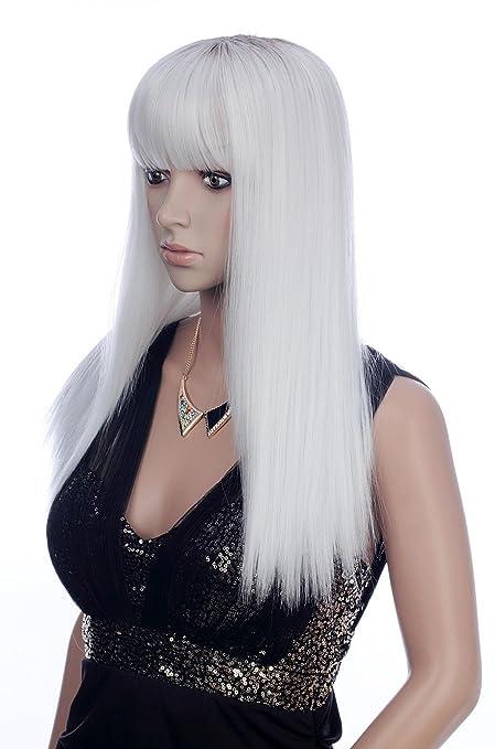 Prettyland - C1345 Peluca Sleek-look lisa blanca pura con mechas oscuras en la coronilla