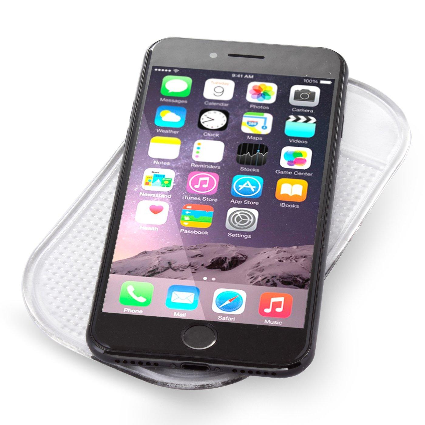 HaftPlus Anti-Slip Pad - Car Mount Car Adhesive Mat - Adhé sifs sans adhé sif. Tenue Solide Transparent 100% Transparent Amovible - Taille: 14 cm x 8 cm