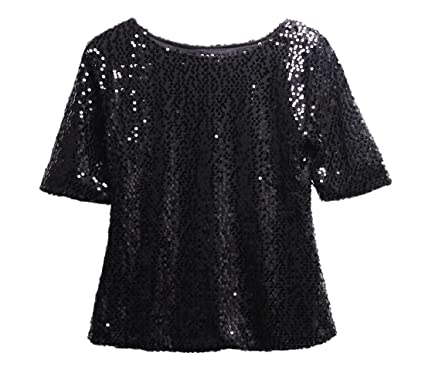58f5b7dd Women Short Sleeve Sequins Embellished Club T-Shirt Sparkle Shirts Tops ( Black, S