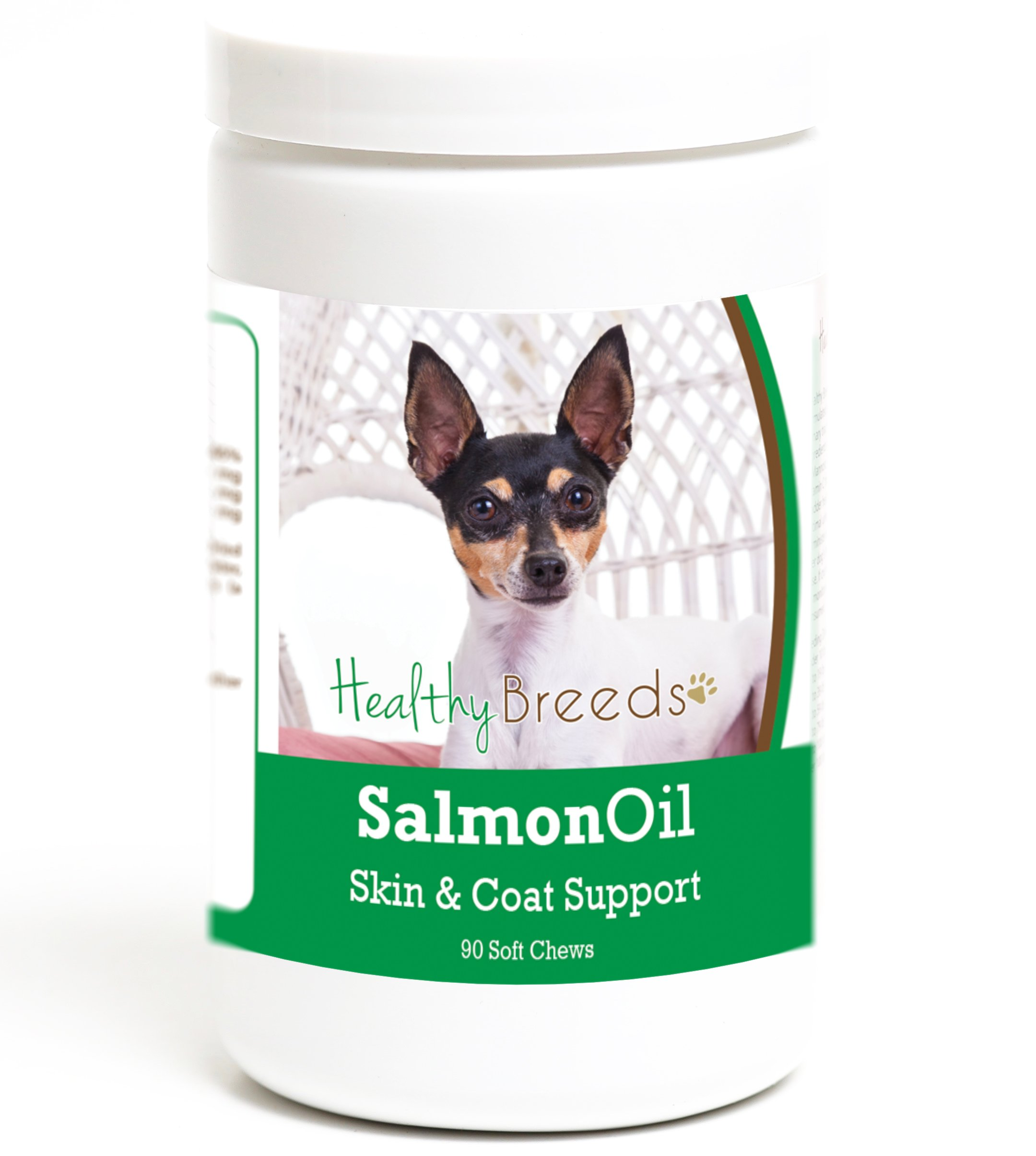 Healthy Breeds Clean Salmon Oil Soft Chews for Dogs for Toy Fox Terrier - Over 200 Breeds - Omega 3 & 6 EPA DHA Fatty Acid Support - Easier Than Capsules & Pumps - 90 Chews by Healthy Breeds (Image #1)