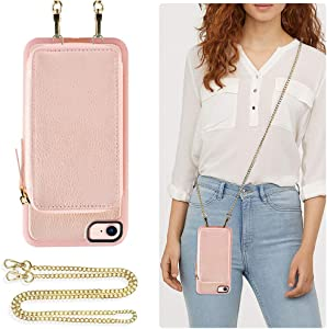 ZVE Wallet Case for iPhone SE 2020/iPhone 8/iPhone 7, 4.7 inch, Leather Wallet Case with Crossbody Chain Credit Card Holder Zipper Pocket Purse Wrist Strap Case for iPhone SE 2020/8/7 -Rose Gold