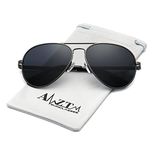 3d46dd2163 AMZTM Classic Fashion Double Bridge Metal Frame Polarized Lens Aviator Men  and Women Sunglasses (BK