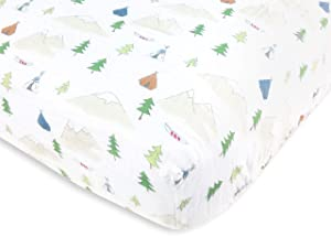 Amazing Baby Cotton Muslin Fitted Crib Sheet, Outdoor Adventure