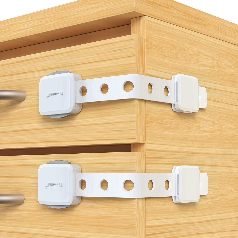 Drawer Child Safety Locks Fridge Baby Proof Cabinet Locks Upgraded Double Lock System for Cabinets SYOSIN Adjustable Child Safety Cupboard Locks Refrigerator Trash Closet 6 Pack