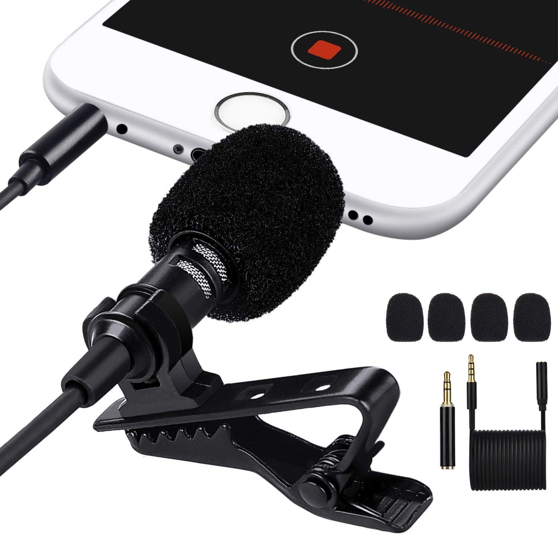Micrófono de Solapa,MACTREM Omnidireccional Micrófono de Condensador [4.9 pies],con un Adaptador para Smartphones y Cable de extensión 6.6 pies para Videoconferencia Podcast Dicción de Voz Phone