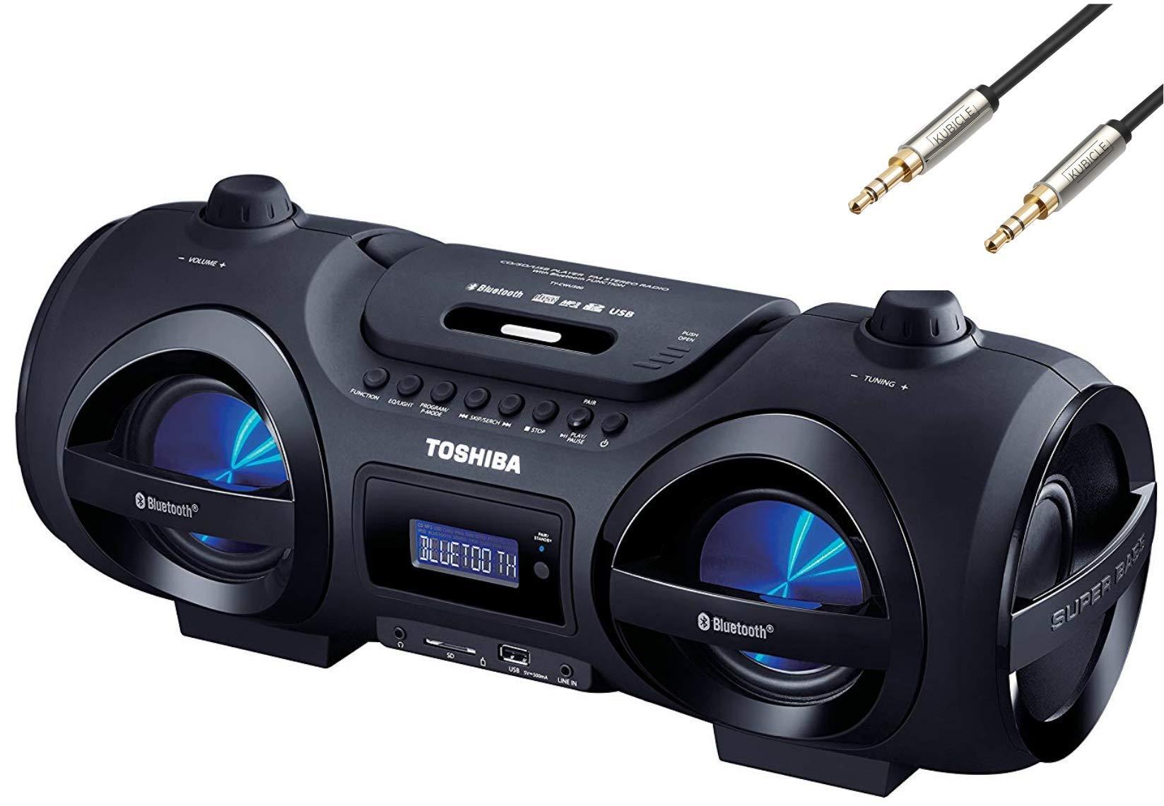 Toshiba Portable Digital Tuner AM/FM Radio Cd Player Mega Bass Reflex Stereo Sound System Plus 6ft Kubicle Aux Cable (Bundle)