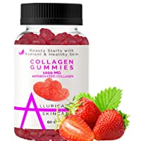 Collagen Gummies Formulated with Vitamin C and Hydrolyzed Collagen Peptides to Support Hair, Skin, and Nail Growth for Women - 60 Strawberry Gummy