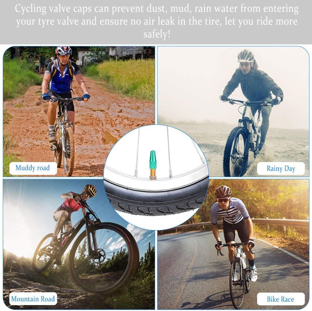 10 Colores Tapas de V/álvula de Neum/ático de Bicicleta Tapas de V/álvulas Tapones V/álvulas de Aluminio Yangfei 30pcs Tapas de V/álvula Tapa Tapas de V/álvula Presta