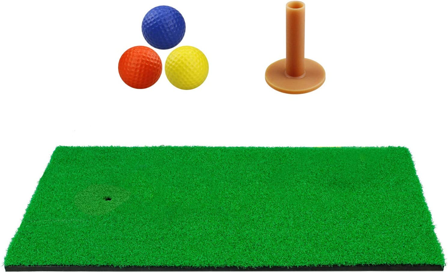 "[Upgraded Version] Timeina 12""x 24"" Golf Practice Hitting Mat with Tee Balls, Pro Foam Dual Turf Golf Mat Pad for Indoor Backyard Golf Chipping Driving Range Target Swing Aids, Portable Hitting Mats"