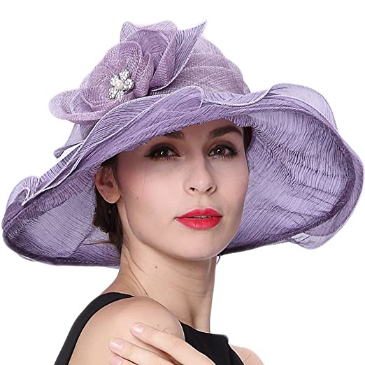 Koola s hats Women Hat Wide Brim Kentucky Derby Church Hat Wedding Hat Shawl ef891bc7e2f6