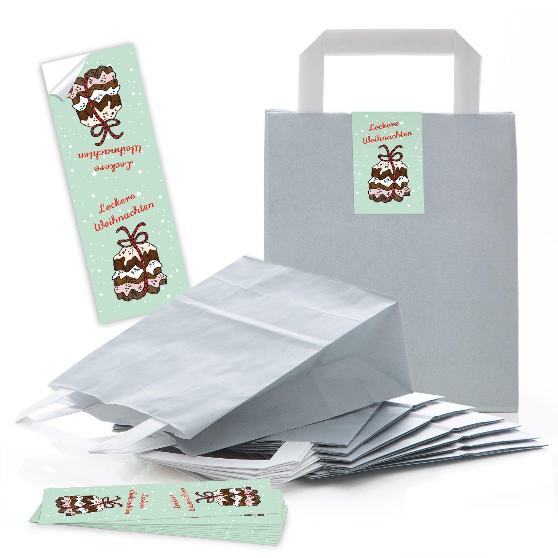 d7b38cf4e durable service 5 pequeñas bolsas de regalo bolsas de papel Navidad grises  con suelo + asa ...