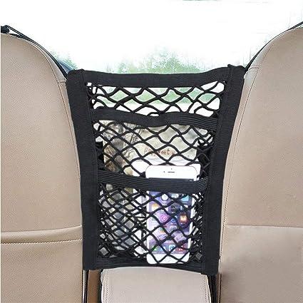 Ruesious Universal Car Seat Storage Mesh//Organizer Storage Net for Bottles//Groceries,Storage Organizers for Car // Truck // Trunk 2 Pcak Mesh Cargo Net Hook Pouch Holder for Bag Luggage Pets Children Kids Disturb Stopper
