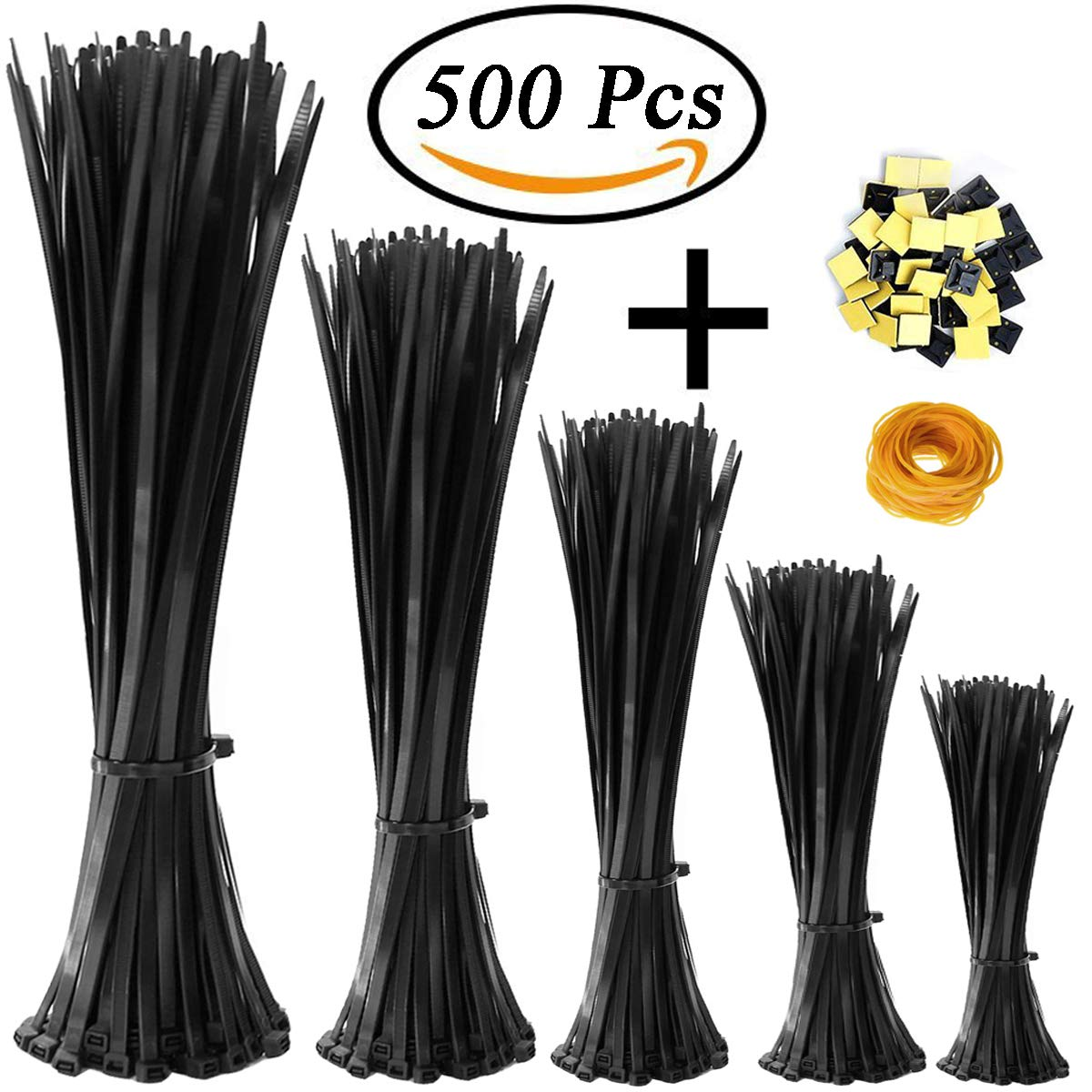 KASZOO Zip Ties 500 Pcs Nylon Cable Zip Ties with Self-Locking 4/6/8/10/12 Inch Black UV Resistant Heavy Duty