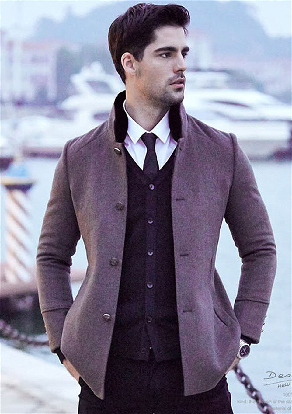 Insun Mens Winter Solid Color Stand Collar Single Breasted Wool Coat Jacket