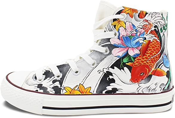 Unisex High Top Sneakers Floral Elephants Classic Canvas Shoes Breathable Sneaker