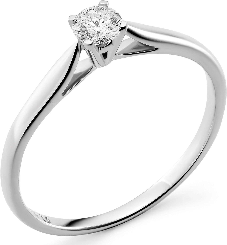Orphelia RD-3917/RD-3918 - Anillo solitario de compromiso para mujer, oro de 18 quilates (750) con diamante redondo y 4 agarres