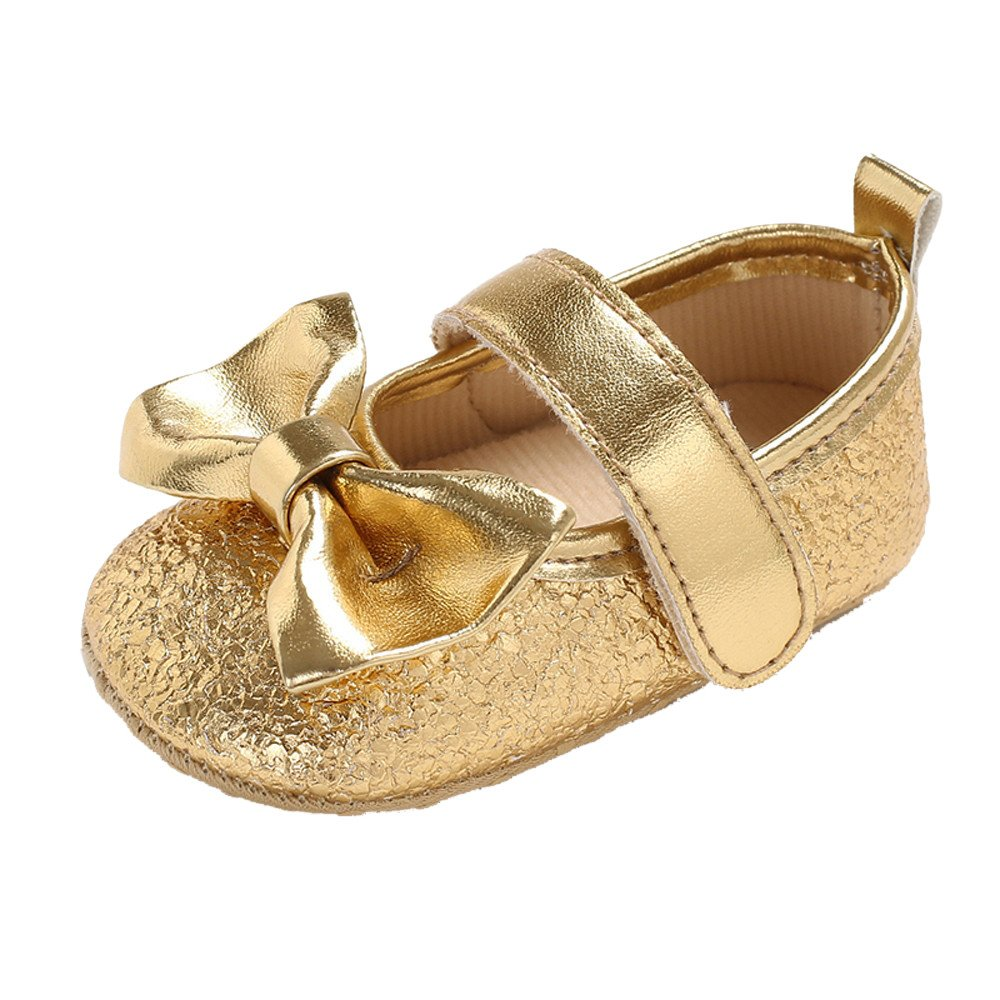 Newborn Baby Shoes Bowknot Sparkle Flat Shoes Velcro Infant Shoes Mary Jane Princess Party Dress Shoes for Infant Newborn Baby