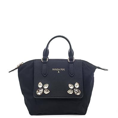 BORSA SECCHIELLO CON TRACOLLA 2V6551 A2CR col. Nero By Patrizia Pepe   Amazon.co.uk  Shoes   Bags 1bbd38715d1