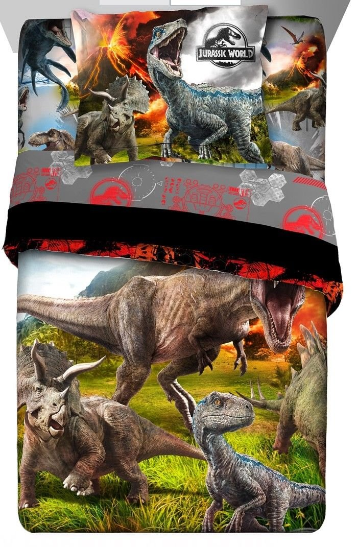 Jurassic World Dinosaur Erupt Twin Comforter, Sheets & BONUS SHAM Set (5 Piece Bed In A Bag) + HOMEMADE WAX MELTS
