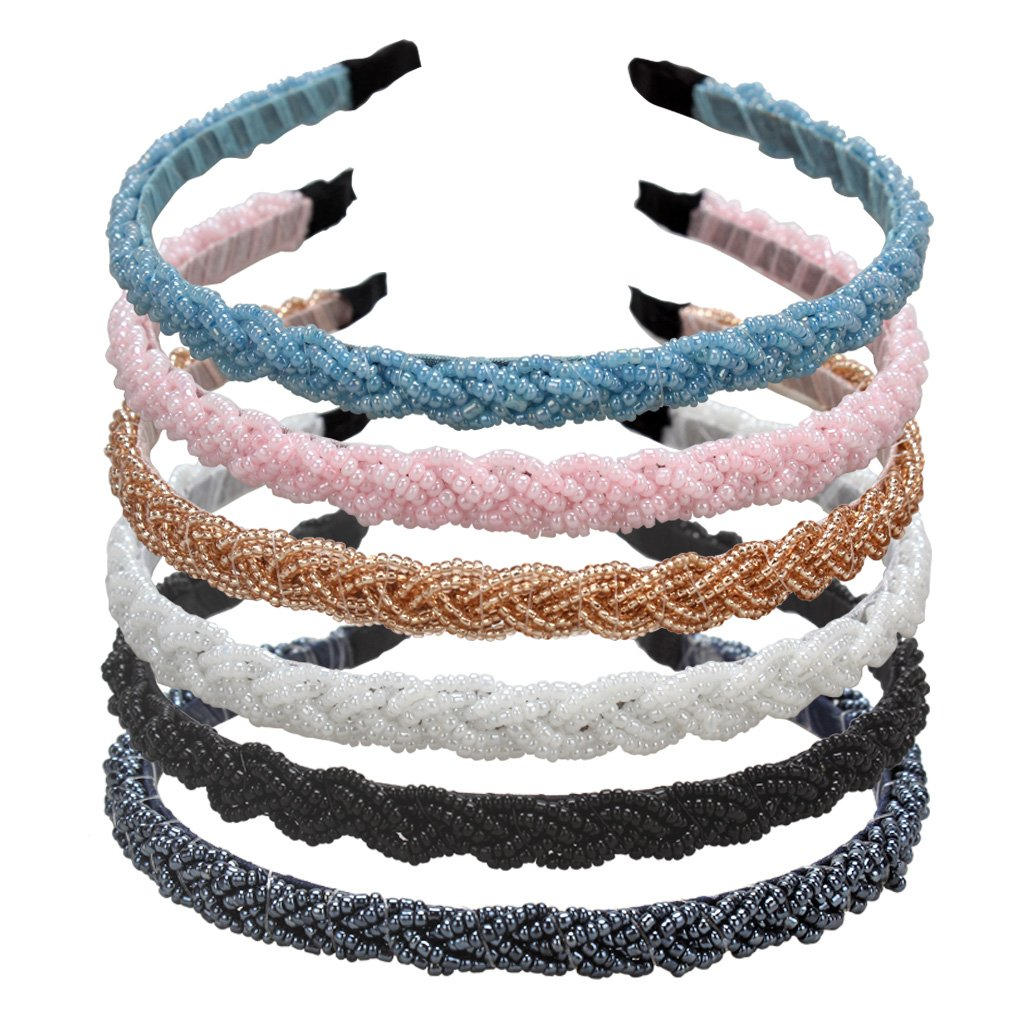 ANBALA Braided Rhinestone Beaded Headband, 6 Pack Fashion Crystal Beaded Headbands Bridal Prom Wedding Headband Hair Accessories for Women Girls