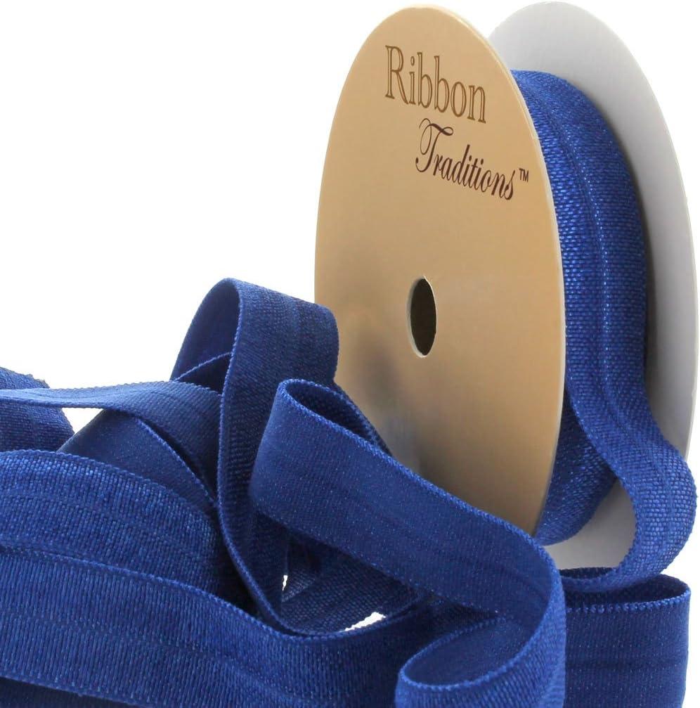 DIY Hair Tie Elastic Craft Supply Blue Baseball Print Fold Over Elastic 58 Soft Elastic Sewing Supplies by the Yard Sports Team FOE