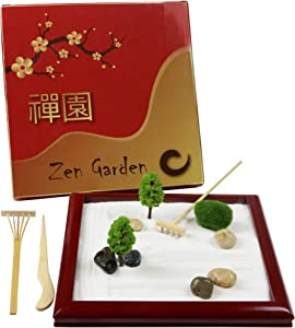 Deluxe Mini Zen Garden Desktop, Natural Wood Japanese Zen Garden for Desk, Small Play Sandbox, Sand Box Play Therapy Tabletop Set, Promote Meditation, Serenity, Relaxation and Life Stress Relief