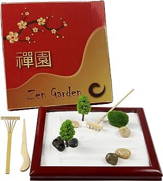 Escritorio de jardín Zen Mini Zen, de Madera Natural, para Escritorio, Caja de Arena pequeña, Juego terapéutico, promueve la meditación, la Serenidad, la relajación y el Alivio del estrés: Amazon.es: Juguetes y
