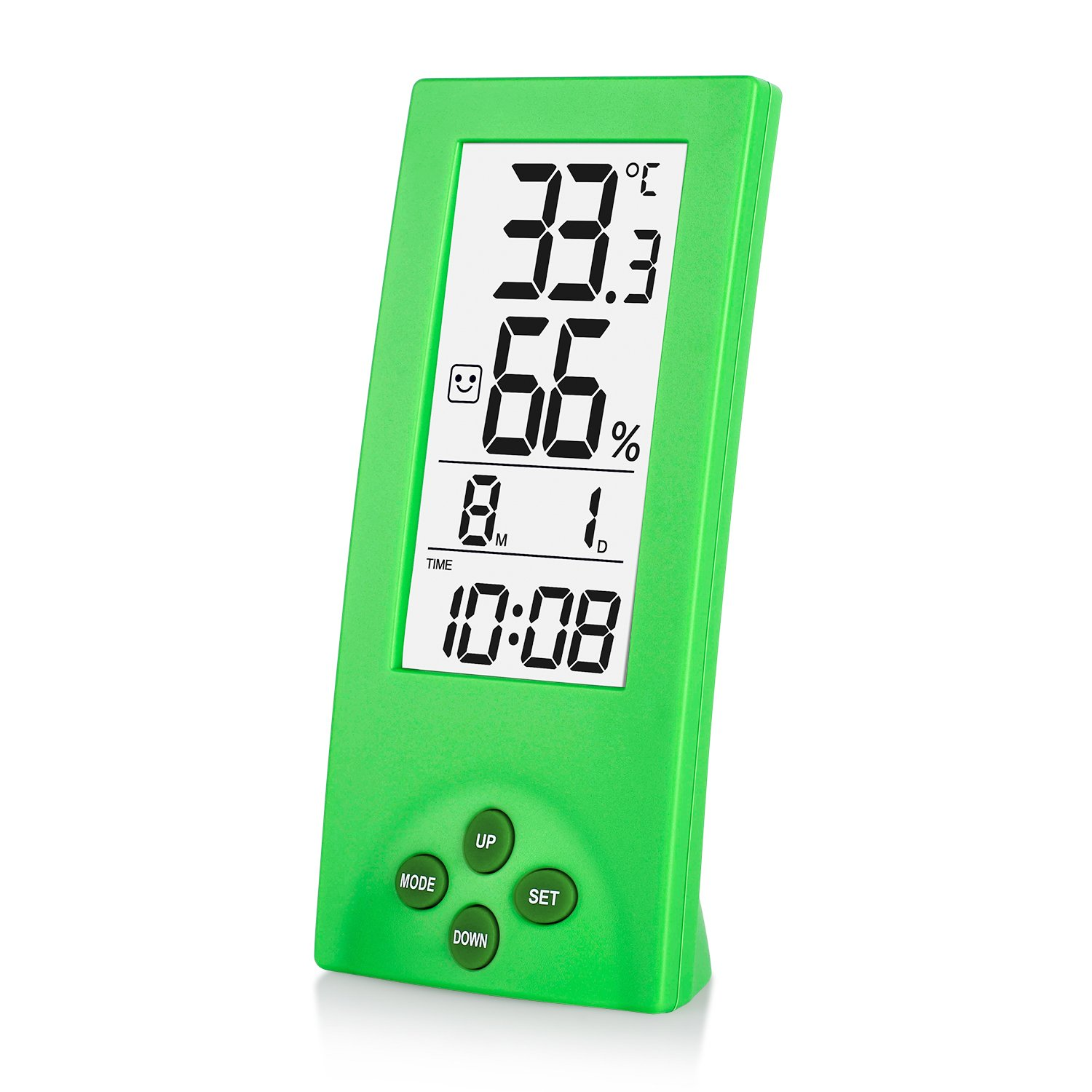 Souldio 5 in 1 Indoor Thermometer Hygrometer Monitor, Digital Hygrometer Gauge, Large & Transparent LCD Disply Humidity, with Time/Date/Temperature/Clock for Cooking Baking Sports Game Home Office