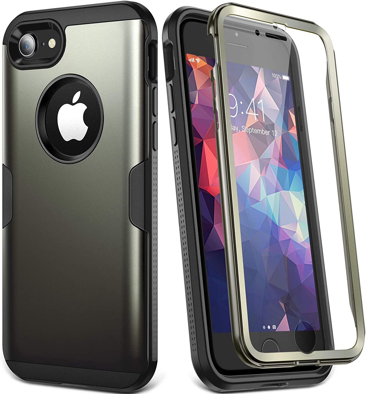 YOUMAKER Metallic Designed for for iPhone 8 & iPhone 7, Full Body Rugged with Built-in Screen Protector Heavy Duty Protection Slim Fit Shockproof Cover for Apple iPhone 8 (2017) 4.7 Inch - Gun