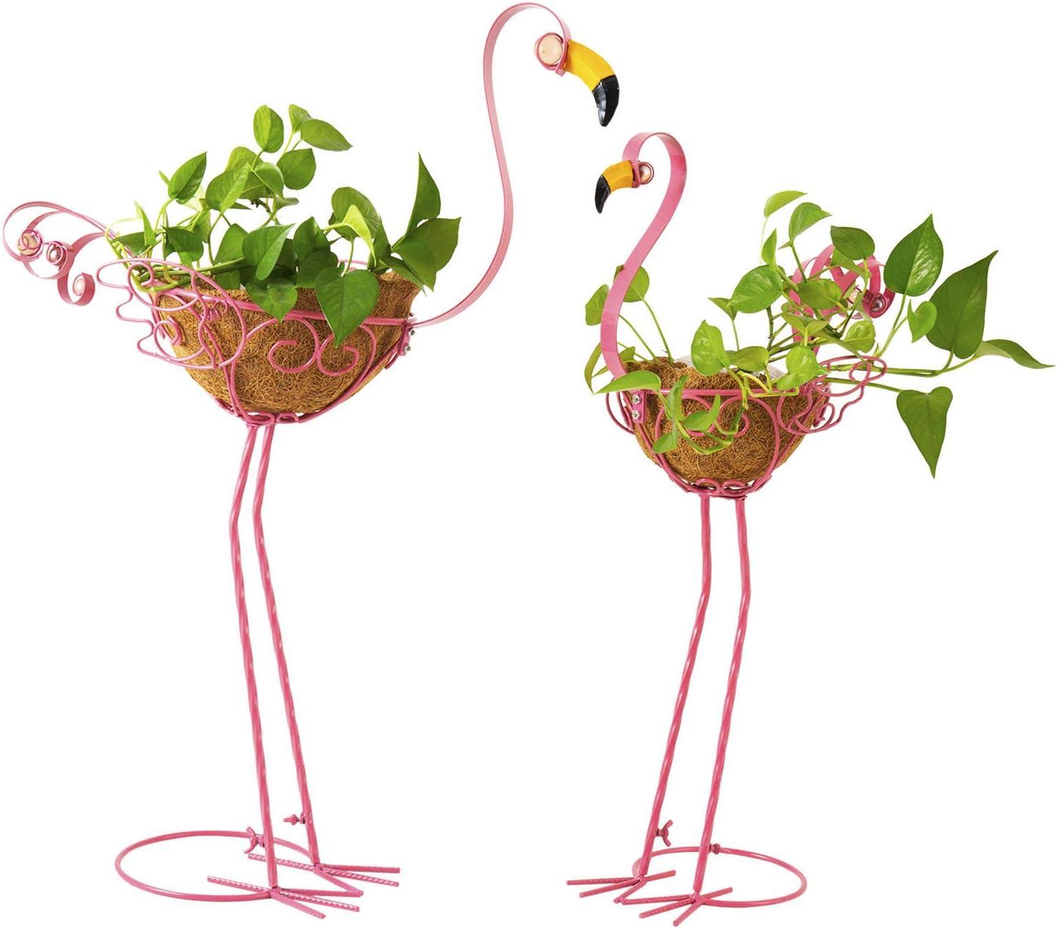 Flamingo Garden Bird Planters, Set of 2 Metal Pink Flamingos Yard Ornaments with Basket, Adorable Flamingo Gifts Outdoor Decoration for Garden, Patio, Porch, Yard