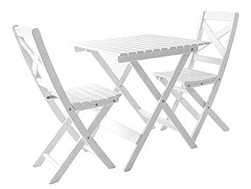 Balkonset Klappbar.Ambientehome Balkonset Sitzgruppe Klappbar Bistroset Lotta Weiß 3 Teiliges Set