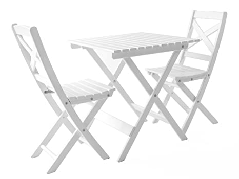 Java Exclusiv Ambientehome Lotta - Juego de mesa y 2 sillas para balcón, plegable,