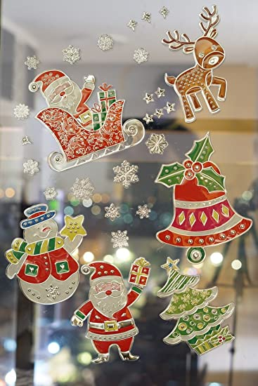 cloudbuyer christmas window clings wall stickers decal decorations snowflake ornaments party supplies 6 sheets - Christmas Window Decorations Amazon