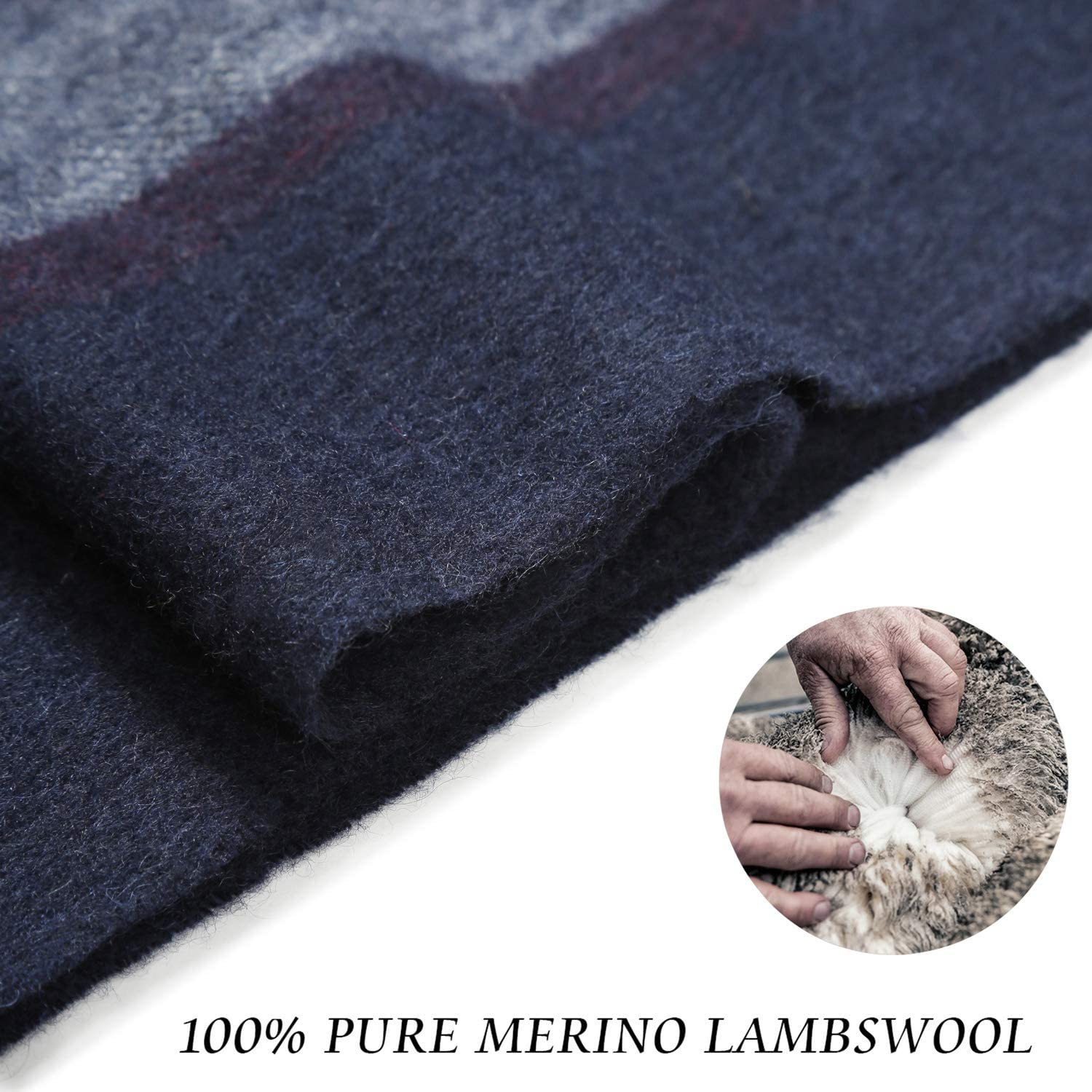 i+k 100/% Pure Merino Lambswool Plaid Scarf for Women Men Soft Wool Fashion Winter Warm Wrap with Gift Box