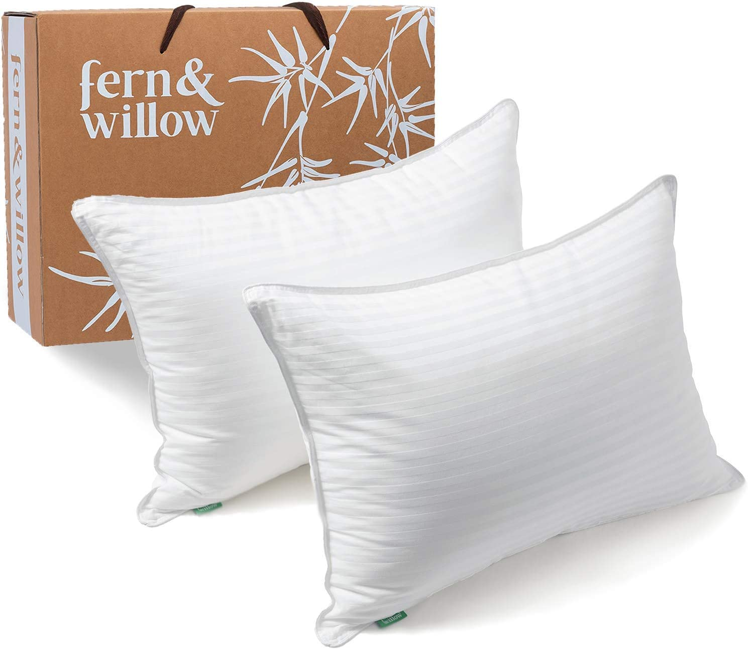 Fern and Willow Pillows for Sleeping - Standard Size, 2 Pack - Premium Down Alternative, Hotel Bed Pillow Set - Luxury, Plush Cooling Gel, Hypoallergenic - for Neck Pain, Back & Side Sleepers