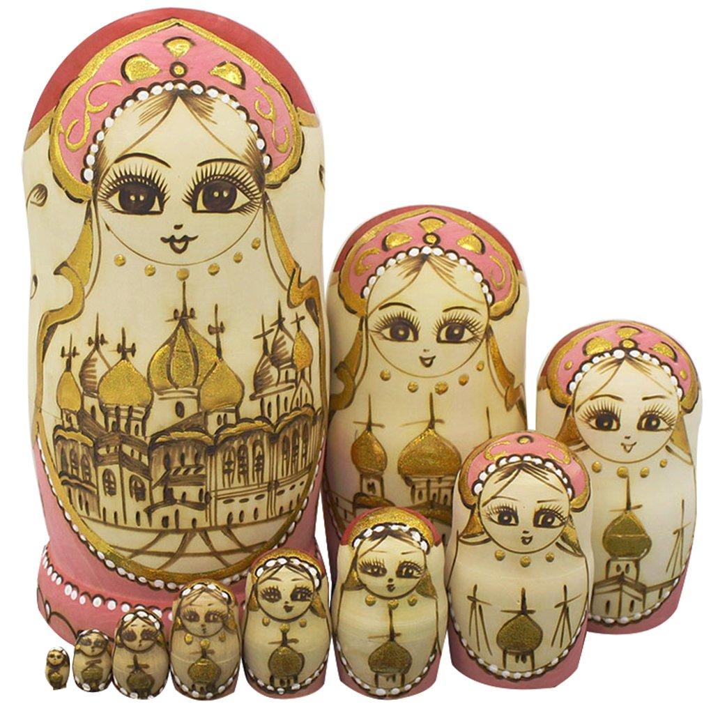 Winterworm Cute Handmade Wooden Traditional Russian Girl in Moscow Kremlin Traditional Russian Nesting Dolls Matryoshka Dolls Set 10 Pieces for Kids Toy Home Decoration