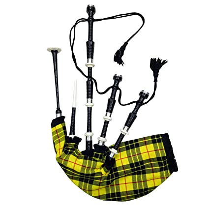 d5d76702e411 Amazon.com  TRAD NYC Bagpipes Black Finish with Plain Silver Mounts +  Carrying Case + Tutor Book + Clan McLeod Bagpipe