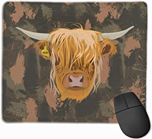 Highland Scottish Cow Fashion Quality Thicken Mouse Pad with Non-Slip Rubber Base for Home Office Working Studying 9.8x11.8 Inches