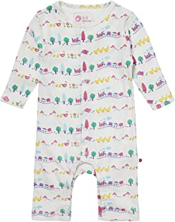 Piccalilly Organic Cotton Baby Girls Multicolored Long Sleeve Farm Train Romper