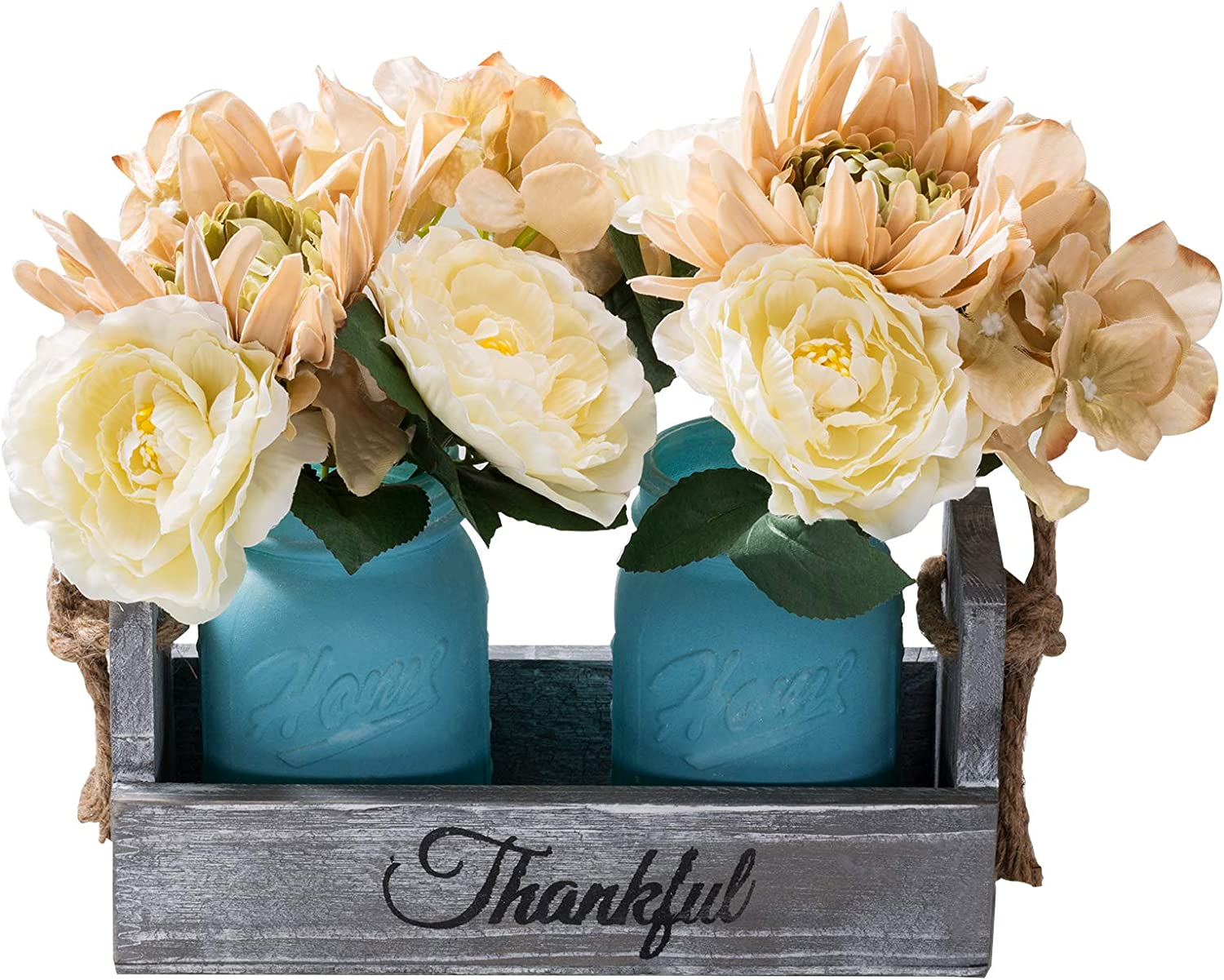 Mason Jar Table Centerpiece - with Flower Rustic Farmhouse Kitchen - Table Decor Centerpiece - Home Coffee Table Dining Room,Living Room Kitchen(Blue, Medium)