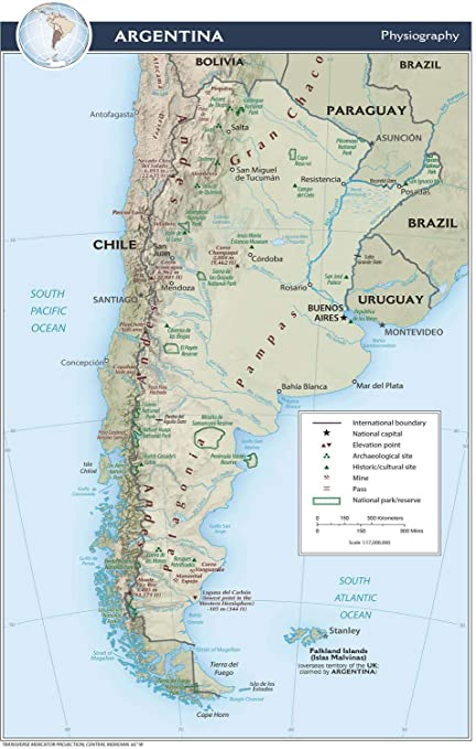Amazon.com: Map Poster - Argentina Physical Map 11\