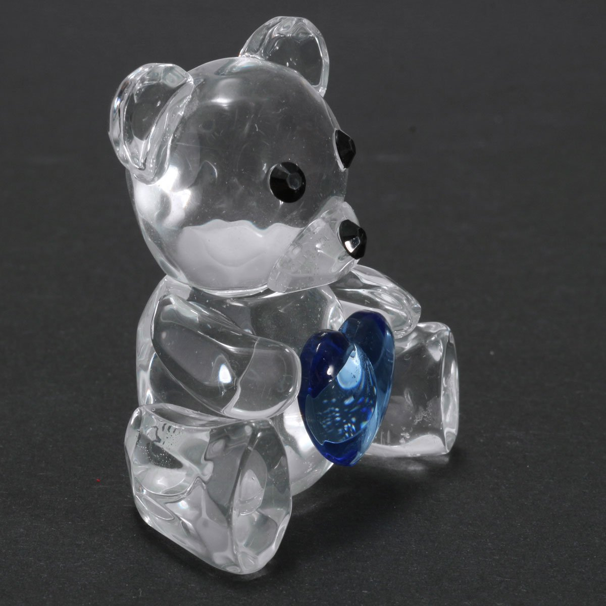 Clear Artificial Crystal Bear With Blue Heart Christening Baby Shower Favor Gift