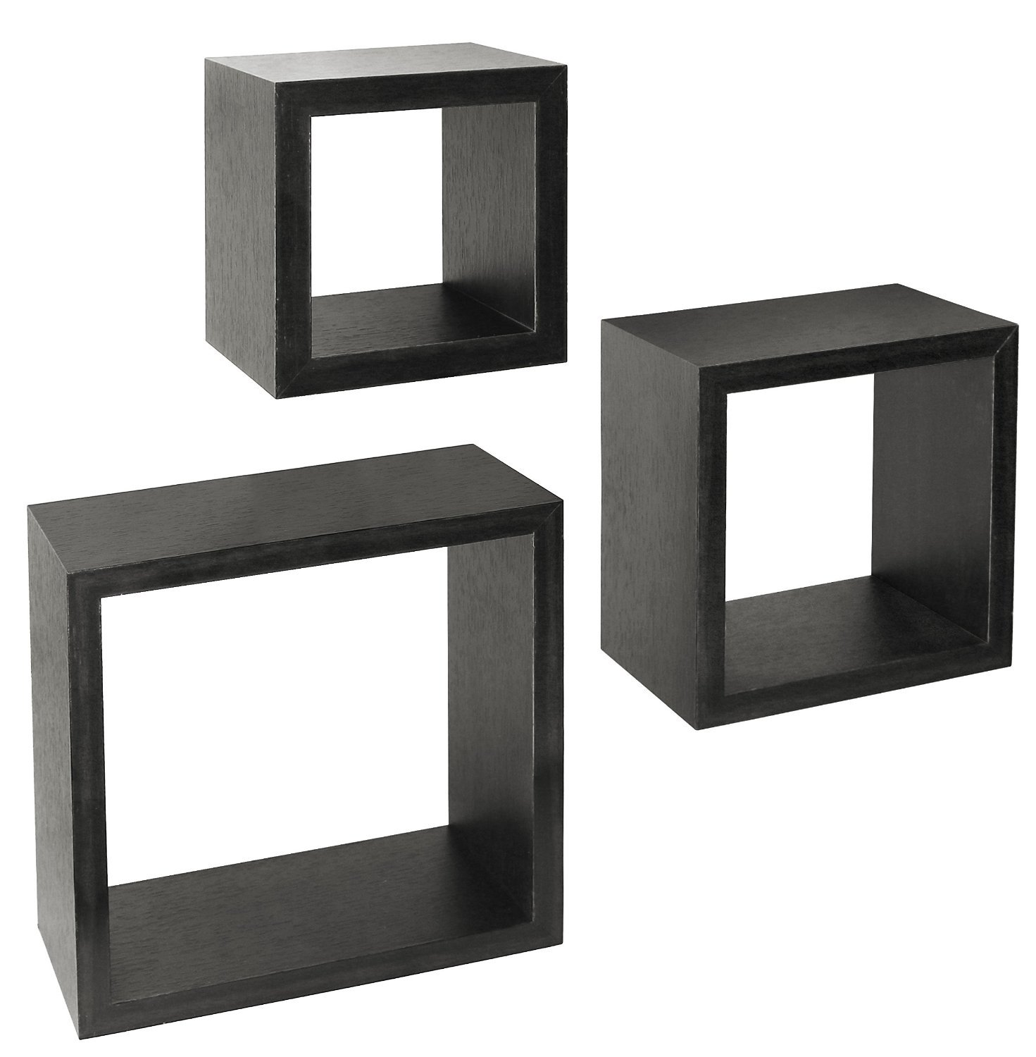 Greenco Set of 3 Floating Cube Shelves, Espresso Finish - Set of 3 size shelves Made of durable MDF laminate Beautiful espresso finish that suits almost any decor Easy to mount with all necessary hardware Included - wall-shelves, living-room-furniture, living-room - 71tvv5IkVWL -
