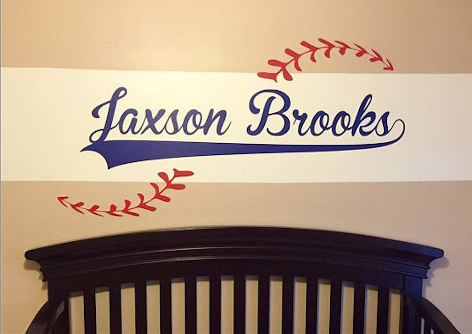 Custom Name added to Baseball Vinyl Wall Decal - Baseball theme - Personalized Removable sticker perfect for above bed - Sports room