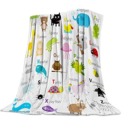 BMALL Lightweight Flannel Traveling Throw Blankets ABC Learning Alphabet Kids Educational Funny Teaching Words Easy Care - All Season Premium Bed Blanket for Couch Bed 40x50inch: Home & Kitchen