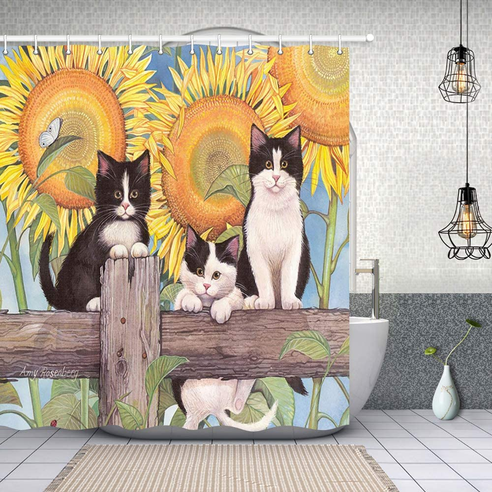 NYMB Flower Decor, Cute Cat on Wooden in Sunflower, Polyester Fabric Shower Curtain Set, Fantastic Decorations Bath Curtain,69X70 inches, Black Yellow (Multi23)