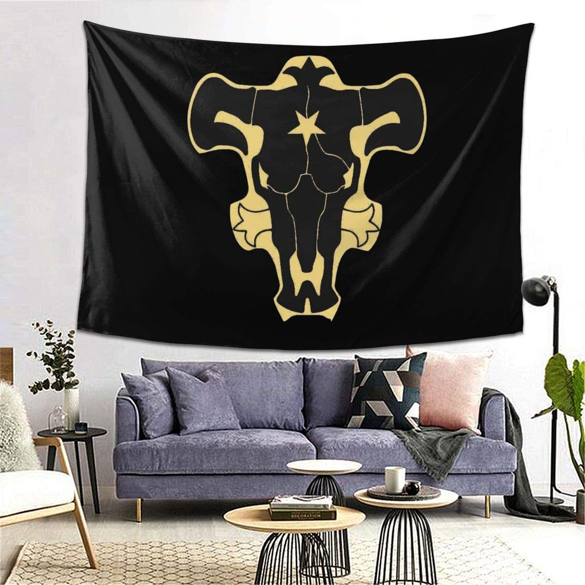 Black Clover Tapestry Black Bull Novelty 60×80 Wall Hanging Home Decor Tablecloth Blanket Picnic Beach Mat Carpet Sofa Cover Poster