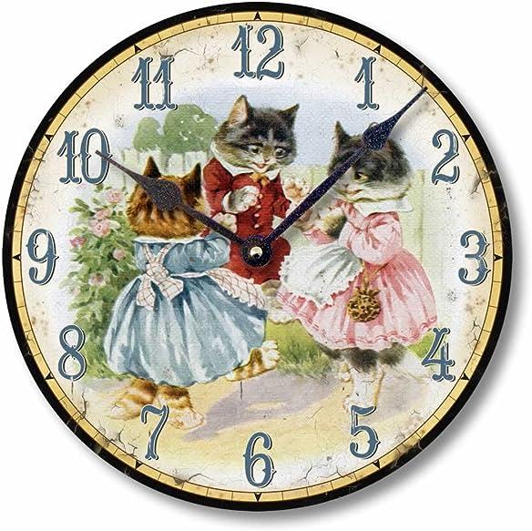 Fairy Freckles Studios Item C9005 Vintage Style 10.5 Inch Three Kittens Nursery Clock