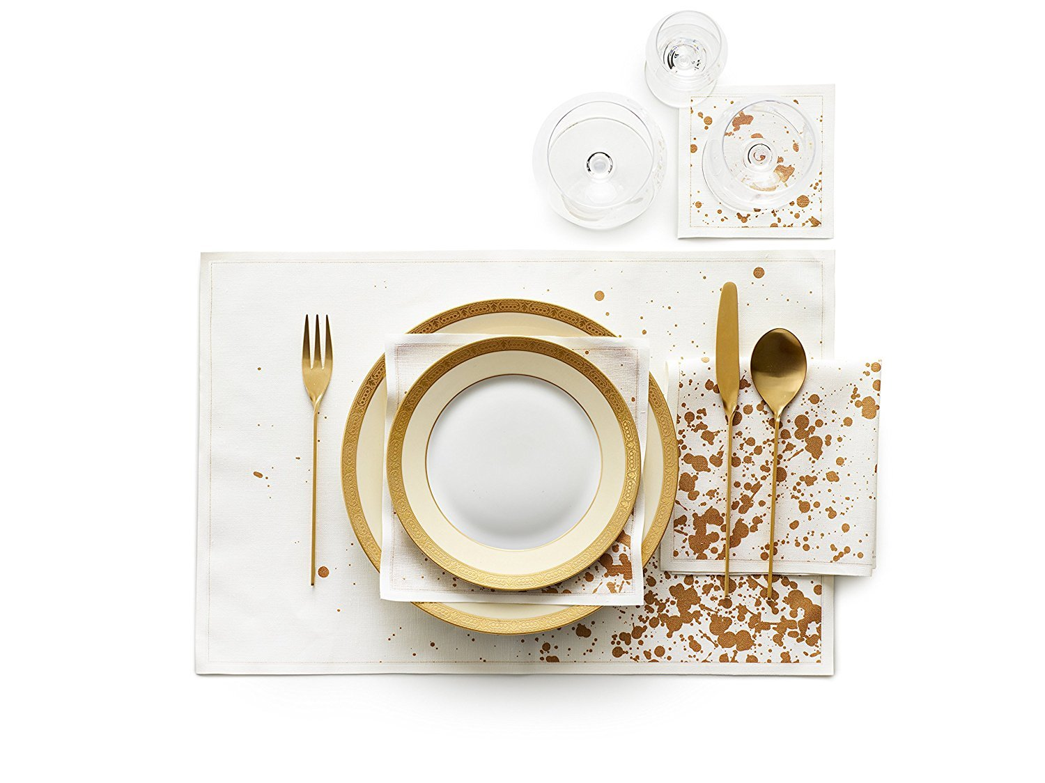 Linen Printed Placemat - 18.9 x 12.6 in - 6 units per roll - Golden Splash by MYdrap